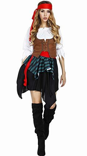 Piratin Kostüm mit Halstuch Piratinkostüm Damen Piraten Kostüm Pirat Größe Halloween Cosplay 2XL