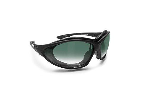 BERTONI Gafas para Moto Patillas Sustituibles con Banda Elastica - Suplemento Antiviento Removible - Mod. FT333B