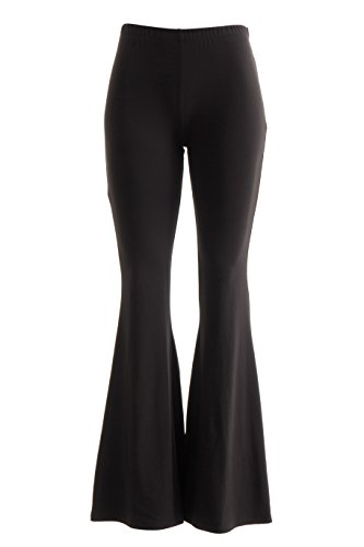 FASHIONOMICS Womens Boho Comfy Stretchy Bell Bottom Flare Pants (XL, Soft BK)