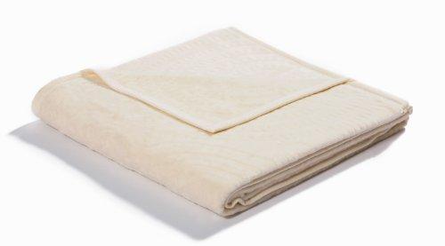 Biederlack Wohn- und Kuscheldecke, 60 % Baumwolle, Samtband-Einfassung, 150 x 200 cm, Natur, Relief Cotton Twisting, 605542