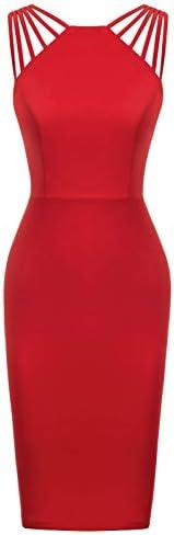 Women s Sleeveless V Neck Bodycon Midi Cocktail Evening Dress Wine M product image