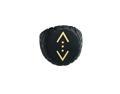 Gök-Türk Ring for men, 'Cukur' - adjustable size - black