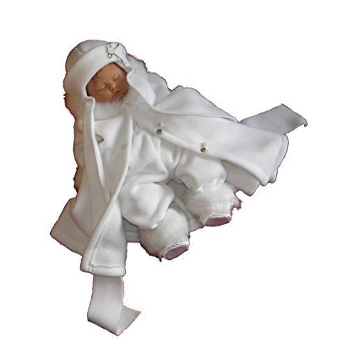EleganceFashionDE Baby Tauf-Set 4-TLG Mädchen Fleece Tauf-Mantel Hut Hose Schuhe Wintertaufe Winter Herbst Taufe (62)