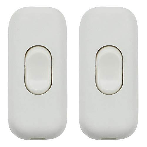 Schnurzwischenschalter 2 Stück Lampen-Schalter Inline ON/OFF Tisch Schreibtischlampe Kabel Schalter für 2- und 3-adrige Kabel 6A 250V Matt Weiß