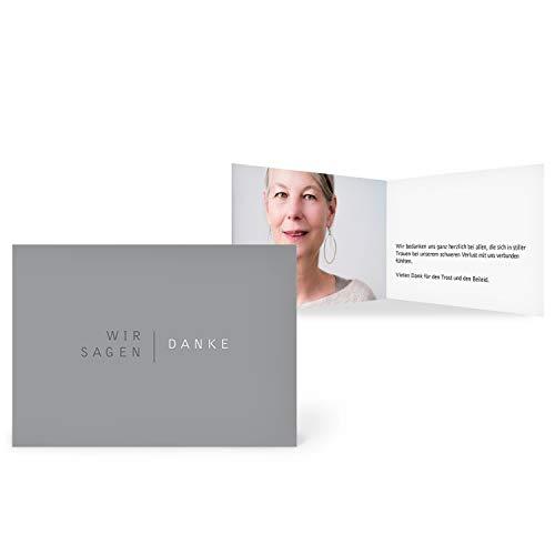 greetinks 100 x Trauer Danksagungskarten 'Schlicht' in Grau | Personalisierte Karten zur Trauer zum selbst gestalten | 100 Stück Dankeskarten