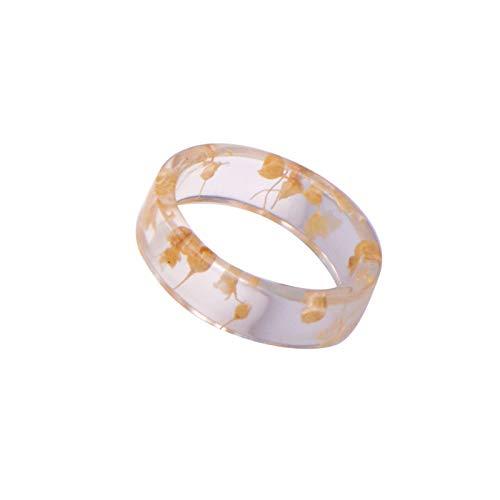 Anillos de nudillo, anillos de dedo, para mujer, hecho a mano, resina transparente, flor seca, anillo de joyería de regalo - blanco US 6