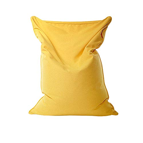 Stor bönväska sofföverdrag, lat lounger soffa säng överdrag fin sammet och linne tyg mössa förvaring skydd för vuxna och barn utan fyllning, gul, 130 x 160 cm