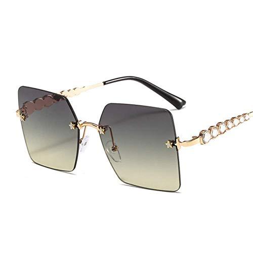 XDJ Gafas de Sol Moda Sin Aros Gafas De Sol, De Gran Tamaño Sombras Anti-UV Diamante De Imitación Tendencia Metal Marco De Los Lentes para Hombres Mujeres Gafas De Sol