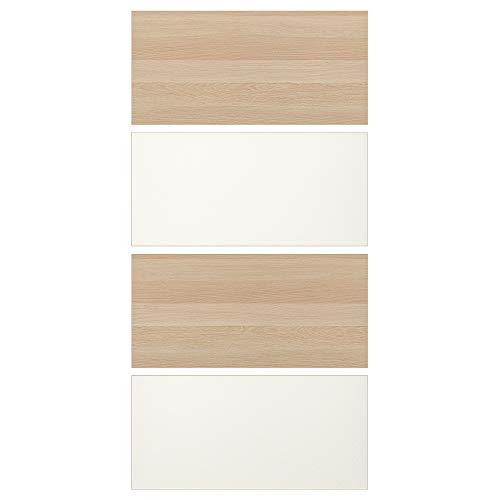 MEHAMN fyra paneler för skjutdörr 100 x 201 cm vitmålad ek effekt/vit