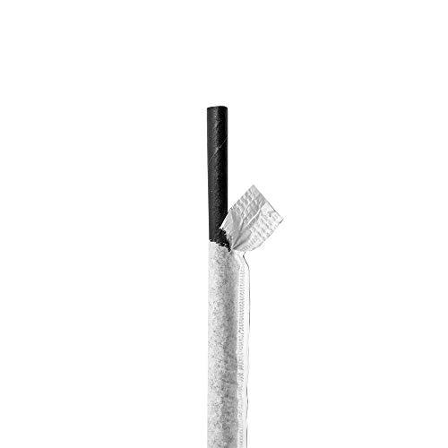 250 pezzi - Cannucce dritte rivestite bianco Ø 0,60 x 21 cm nero carta