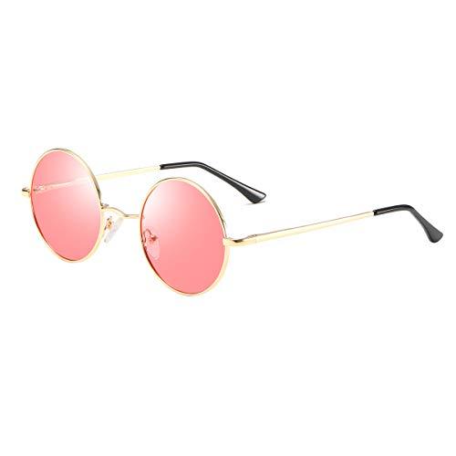 Retro Lennon Sonnenbrille Vintage Polarisierte Mirrored Linsen Metall Gestell Rundbrille für Herren Damen Red Ocean Linse+Goldrahmen