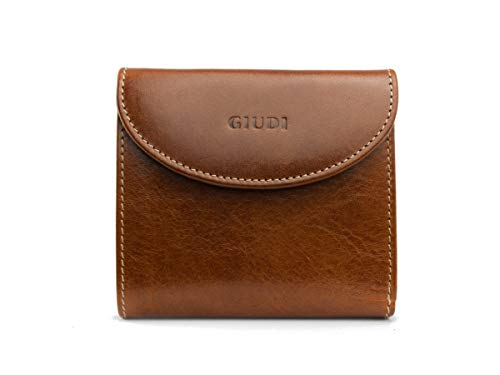 GIUDI ® Geldbörse für Damen aus Rindsleder, Klein, Minibörse, Münzfach, Kartenfächer (Haselnuss)