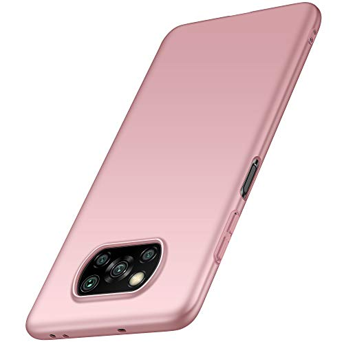 anccer Funda Xiaomi Mi Poco X3 NFC, Ultra Slim Anti-Rasguño y Resistente Huellas Dactilares Totalmente Protectora Caso de Duro Cover Case para Xiaomi Mi Poco X3 NFC (Oro Rosa Liso)