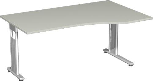 Geramöbel PC-Schreibtisch rechts, 1600x1000x720 mm, links zurück, LiGr/Silber