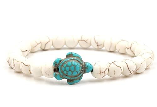 YANGYUE 8Mm Ug4 brazaletes de Cuentas Blancas Turquesa Tortuga Buda oración Pulsera de Yoga Mujeres Hombres joyería dePiedra Natural