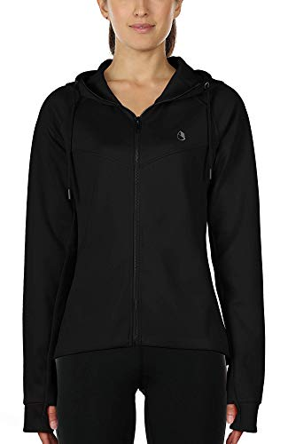 icyzone Workout Track Jackets for Women - Athletic Exercise Running Zip-Up Hoodie with Thumb Holes (XL, Black)