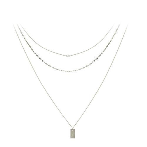 ZAZA Collar de Gargantilla en Capas Dorado Pearl Smiley Colgante Collar Moda Multilapa Cadena Changker Collar para Mujeres Adolescentes Girls