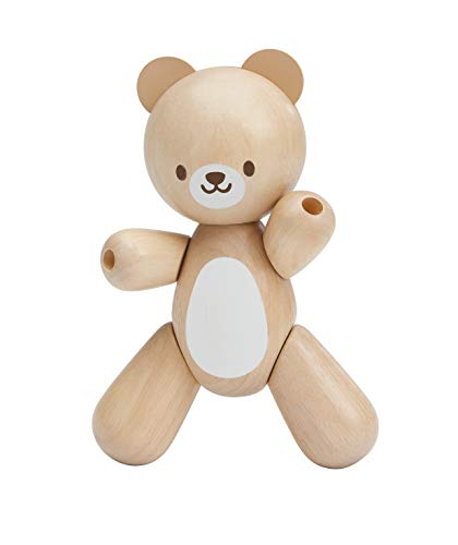 PlanToys Wooden Mama Bear Teether and Grasping Toy (5241)   Sustainably Made from Rubberwood and Non-Toxic Paints and Dyes   Eco-Friendly PlanWood