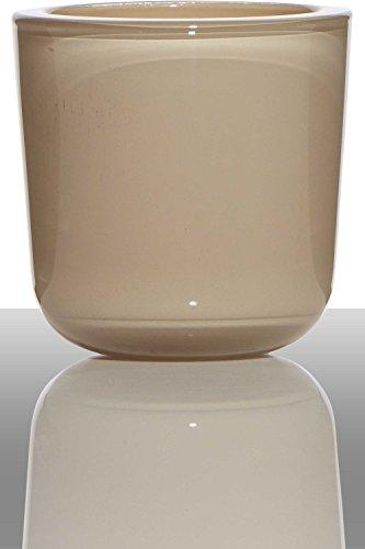 INNA-Glas Candelero Nick, cilíndrico/Redondo, Beige, 7,5cm, Ø7,5cm - Porta Velas de Mesa - Farol portavelas