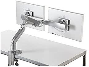 M8 Humanscale Monitor Arm Cross Bar, Dual Monitor Arm, Clamp Mount, Silver w/ Grey Trim