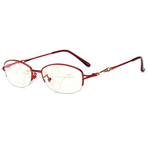 Red vrouwen de Half-Frame leesbril, blokkeren Blue Light Lenzen, progressieve multifocale, metalen scharnier Reader,+1.5