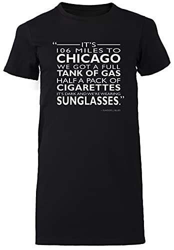 Its 106 Miles To Chicago Negro Vestido Largo Mujer Camiseta Tamaño L Black Dress Long Women's tee Size L