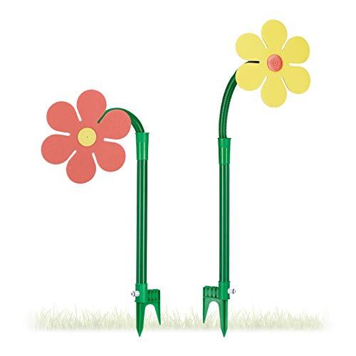 Relaxdays Sprinkler Blume, Kinder, 2er Set, Garten, 6 m Reichweite, 360°, Spritzblume, HxBxT: 105 x 28 x 28 cm, rot/gelb