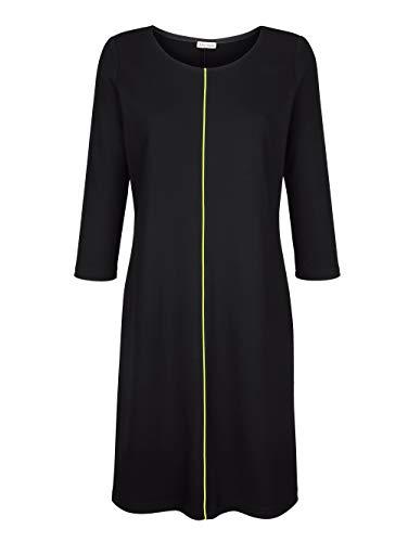 Alba Moda Jerseykleid mit neon Paspel Schwarz