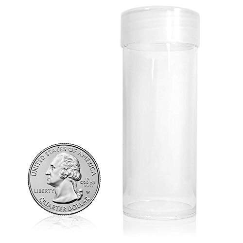 BCW Clear Quarter Coin Tubes with Screw-On Cap, Each Holds 40 Quarters (10-Tubes Total)