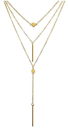 VIJOYEE Y Layer Simple Bar Pendant Necklace Center Long Lariat Chain For Women Jewelry (Alloy - Gold)