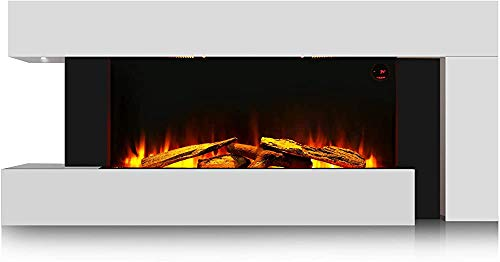 Modern and Unique 55-inch White Wall-Mounted Electric Fireplace with...