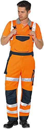 Vizwell Warnschutz-Latzhose Warnlatzhose Signal + Gratis-Werkzeugtasche Orange-Marine Gr.42-68/24-30/90-110 (60)