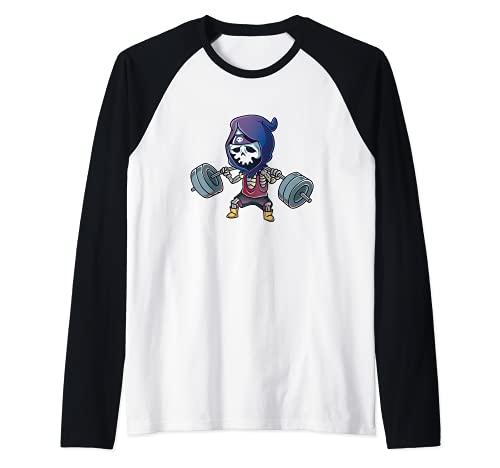 Gym Reaper Grim Reaper Squats Legs Workout Halloween Costume Camiseta Manga Raglan