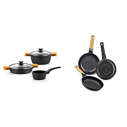 BRA Efficient - Batería 3 Piezas, de Aluminio Fundido con Antiadherente + Efficient Orange Set de 3 sartenes, Aluminio Fundido, aptas para Todo Tipo de cocinas, 20-24-28 cm