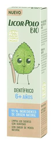 Licor del Polo Licor del Polo - Dentífrico Infantil BIO Junior +6 años Menta - 50ml – Pasta de dientes sabor MENTA – 99% de ingredientes de origen natural – Limpia los dientes con suavidad 64 g
