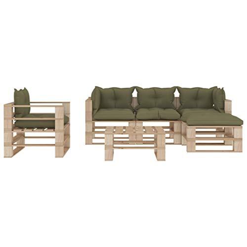 Goliraya Set Muebles de palés para jardín 5 Piezas Madera Cojines Beige