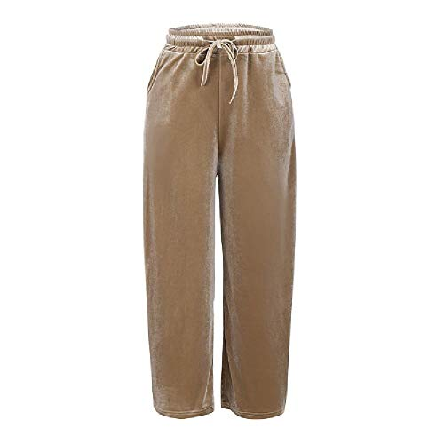 Las Mujeres De Oro De Terciopelo Pantalones Sueltos De Pierna Ancha, Pantalones De Pierna Ancha, Pantalón Causal De Longitud Completa De Los Pantalones De Mujer