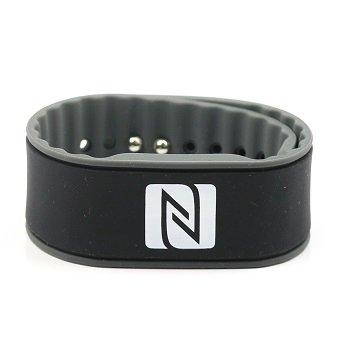 Pulsera de la NFC, Adecuado para los contactos, el Comercio, los Deportes, 924 Bytes (NTAG 216), Resistente al Agua, Negro/Gris, Ajustables