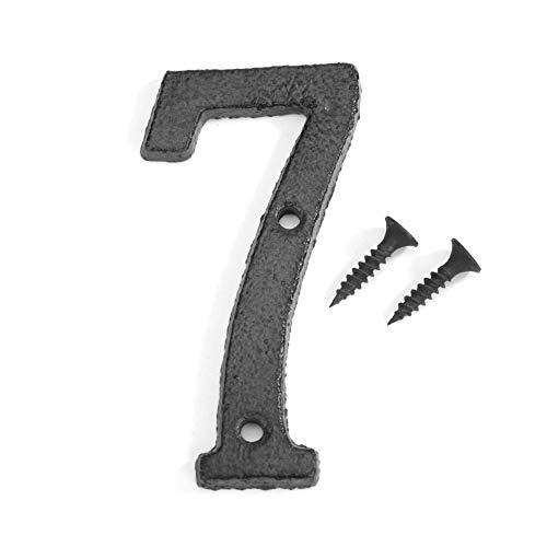 Domybest Hausnummer 0 – 9 aus schwarzem Eisen, Hausnummer, Straßenschilder, Wandschild, Tür mit Befestigungsschrauben