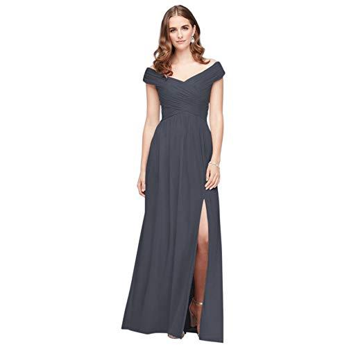David's Bridal Crisscross Off-The-Shoulder Mesh Bridesmaid Dress Style F19951, Pewter, 4