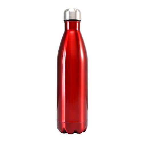 Botella de acero inoxidable, a prueba de fugas No-Bpa Acero Inoxidable Reutilizable Botella de Agua Doble Aislamiento al Vacío 1000ml Transparentred