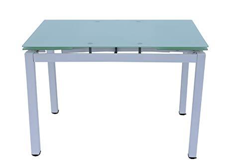 Mesa de comedor extensible, 110 x 70 x 74 cm, estructura de metal blanco y parte superior de cristal templado.