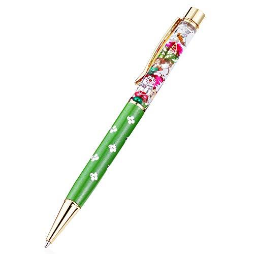 ハーバリウム ボールペン 完成品(替え芯3本付き) (Xmas グリーン)