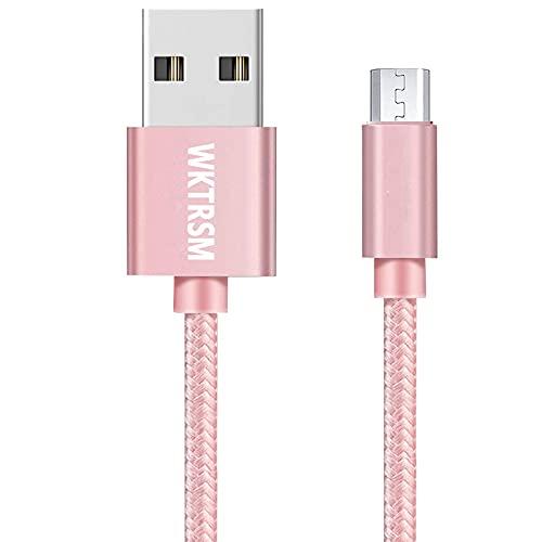 WKTRSM Cable Micro USB Cable 1m Rosa Cargador Carga Rapida Trenzado de Nylon para Dispositivos Android, Samsung Galaxy, Huawei, Kindle, TCL, Sony, Nexus, Motorola y Más (1m Rosa)