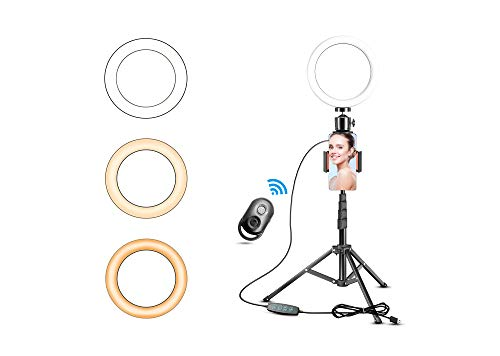 "Selfie Ring Light with Tripod Stand,Xom-shot 8"" LED Halo Light for Phone/Camera with Cell Phone Holder,Laptop Ringlight with Remote for Video Recording/Conferencing/Makeup/YouTube/Blogs/Photography"
