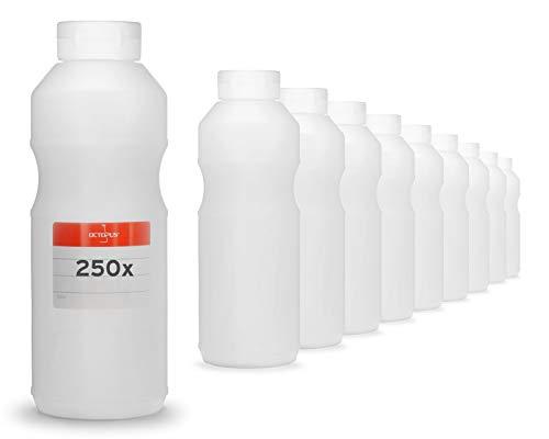 Octopus 250x 500 ml Quetschflaschen, Dosierflaschen mit Klappdeckel und Silikonöffnung, Ketchupflaschen BZW. Saucenflaschen, inkl. Beschriftungsetiketten