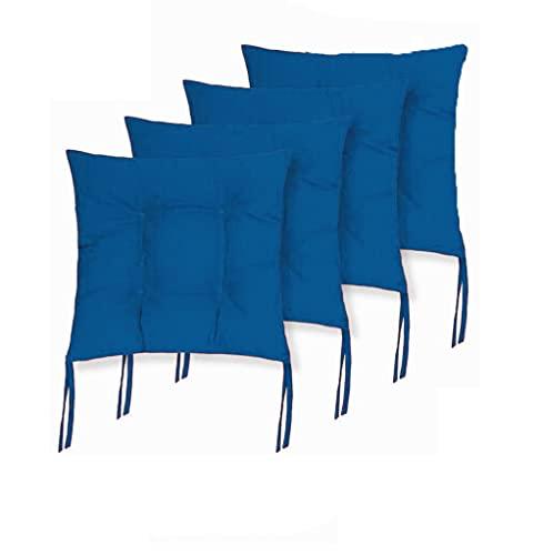 Cojines Acolchados de sillas de terraza, jardín, balcón, Cocina. Tamaño 40 x 40 x 5cm. Cojines Asiento para sillas con Cremallera (Azul, Pack 4 Cojines)