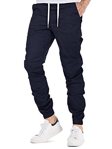 AitosuLa Herren Jogginghose Baumwolle Freizeithose Sport Slim Fit Trainingshose Sweatpants Jogger Pant (Marine, Large)