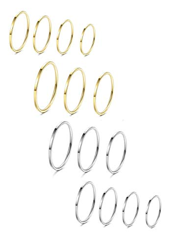 Milacolato 14 Stücke Edelstahl Frauen Plain Band Knuckle Stacking Midi Ringe Comfort Fit Silber/Gold Ton