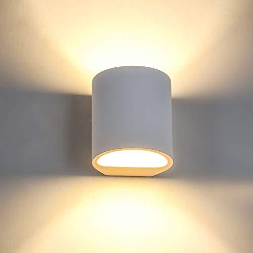 SHYOSUCCE Aplique de Pared Interior de Yeso con 3W G9 LED Bombillas de Reemplazable, Moderna Lámpara de Pared Blanco Cálido para Salón, Dormitorio, Escalera, Pasillo